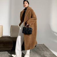 Abrigo de mujer de peluche de peluche de piel de peluche Lana de alpaca suelta 2021 invierno espesar chaquetas de alta gama