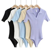 Bodysuit Frauen Sexy Einteiler Sommer Bodysuits Drehen Kragen Kurzarm Dünne Dehnungsgestrickte Oberteile Feste Farbe Körper Femme Frauen T-Shir