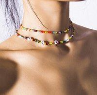 New Handmade Bohemian Beaded Choker Collar Necklace Women Vsco Girl Bead Bracelets Love Initial Letter Chocker DFF4472