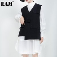 [Eam] mulheres soltas apto preto preto temperamento irregular colete novo v-collar sem mangas moda maré outono outono 2020 1DA6751