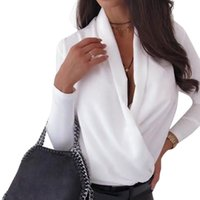 Women's Loose Blouse Fashion Deep V-neck Long Sleeve Casual Solid Color Shitrs Autumn Trendy Outfits Blouses & Shirts