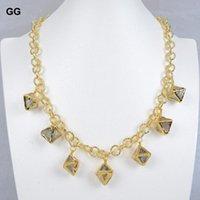 Natürliche grüne lila Fluoriten Scheibe Druzy Gold Color plattierte Kette Choker Halskette für Frauenketten