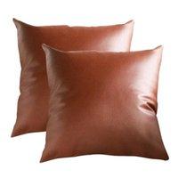 Cushion Decorative Pillow 2pcs Vintage Cushion Cover Faux Leather Throw Case Soft Car Home Sofa Decoration Pillowcase Cojines D#
