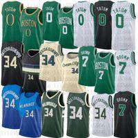 Hommes Jayson 0 Tatum Basketball Jersey Jaylen 7 Brown Giannis 34 Antetokounmpo Jerseys cousu