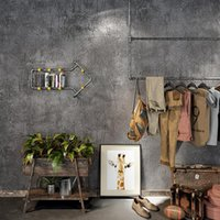 Vintage Industrial Plain Solid Wallpaper For Home Decor Embossed Faux Concrete Walls Gray Color Wall Paper Rolls Cloth Shop Wallpapers