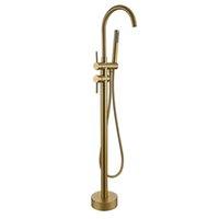 Grifos de la bañera Redondo cepillado viejo oro MXIER TAPS High Rise Freestanding Spout Ducha Grifo Grifo Baño Mezclador Piso Montado OV0E