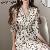 Gaganight женщины ретро цветочное платье крест v шеи деревянные ухо тонкий длинный летний летний элегантный шифон с коротким рукавом платья femme 210604