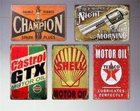 Factory Party Décoration Moteur à gaz Huile d'étain en métal ancien Vintage Garage Man Cave Rétro Posters Bar Pub Murale Décor