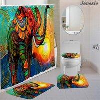 Shower Curtains Flower Print Elephant Curtain Set Waterproof Bath With Mat Toilet Cover U-shaped Floor Bathroom Decor
