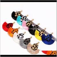 & Chandelier Jewelrykimter Tassel Dangle Earrings Women Personality Jewelry Leopard Print Fan Earring For Lady Girl Fashion Aessories M664A F