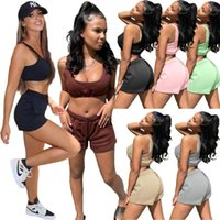 Women's Tracksuits NSHYPOI Summer Fashion Casual Sleeveless Vest Elastic Lace-up Waist Shorts Sports And Leisure Two-piece Women