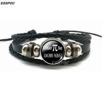 2021 Новые очаровательные браслеты творческий PI символ для стеклянного купола черный кожаный плетеный браслет математика ювелирных изделий учителя подарки TKYP