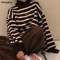 Turtelneck Maglione Donne New Semplici Striped Spring Winter Ulzzang Moda Donna Studente Studente Harajuku Soft Chic Lady Jumper