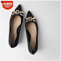 *Family women's single shoes casual professional black metal accessories flat pointed shallow mouth ballet #K05i