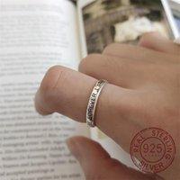 Anillos de boda Vintage 925 plata esterlina para mujer Joyería Open Promesa Carta Forever compromiso Regalo