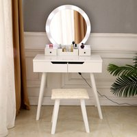 WACO Vanity Set with Bulb Lighted Round Mirror, Modern Bedroom Furniture Makeup Dressing Table Dresser Desk, 4 Drawer - White