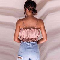 Solid Camis Streetwear Tube Crop Top Women Ruched Pleated Crop Short Tops Bustier Beach Tees Feamle Tank