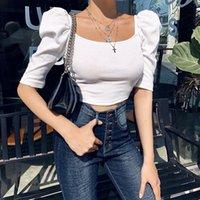 SHESTYLE SQUARE Hals gestrickter Hauchhülse T-shirt Frauen Feste Bodycon Retro Kurzarm Sommer Sexy Slim Pullover Crop Tops Kostenloser Versand von a