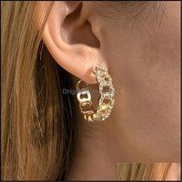 Jewelryeuropean Geometric Diamond Circle Stud Earrings Hip Hop Hollow C-Shaped Ear Lady Business Party Gold Earring Ornaments Aessories Drop