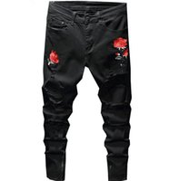 Fashion tide black rose embroidered men jeans Four Season Men Jeans Slim Straight Pants vintage zipper male jeans