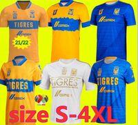 Taille-4XL 2021 Uanl Tigres 7 étoiles Jerseys de football 21 22 Gignac Vargas Camiseta Maillot Home Away Third Mexico Football Shirts