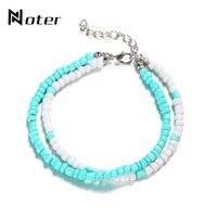 Anklets Boho Multilayer Ankle Braclet Charm White Blue Acrylic Halhal Foot Chain For Women Girls Summer Beach Jewelry Barefoot Sandals