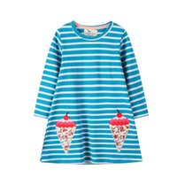Girl's Dresses Arrival Stripe Baby Party Dress For Autumn Spring Girls Cotton Clothing Ice Cream Embroidery Cute Costume