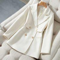Spring Autumn New Blazer Suits Womens Temperament Slim Suit Coat Ladies White Design Slim Blazers Woman Double breasted Jackets H0918