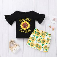 Clothing Sets Floral Outfit Set For Toddler Kids Baby Girls Summer Fashion Letter Tops+sunflowers Shorts Outfits Dress Bebes
