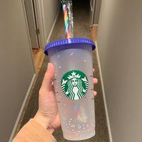 Coupes Starbucks 24oz 710ml et 16oz 473ml Tasse 473ml Tobble en plastique Réutilisable Clear Clear Point De Fond Coupe Personnalisable Logo 20oz1