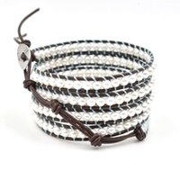 Adjustable Rope Chain Beaded Strands Top Multi Layer Braided Leather Bracelet with Synthetic Pearl Beads Wrap Wristbands Fashion Jewelry CKRQ