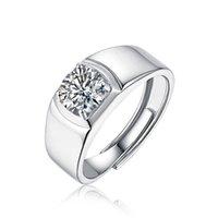 Apertura ajustable Blanco Moissanite Pareja de los anillos 1CT 2CT 3CT 5CT Fiesta de bodas Aniversario Simplicidad Moda 925 Joyería de plata