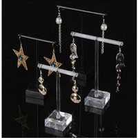 Black & Clear Acrylic Earrings Jewelry Display Rack Stand Organizer Holder Case Necklace Bouches Ornament Hanger T-Bar 2pcs set 1757 Q2