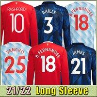 طويلة الأكمام 2021 2021 2022 مانشستر بوجبا b.fernandes كرة القدم الفانيلة United Rashford Fouth Football Shirt 21 22 رجل Kids Kit Set + جورب تايلاند موحدة رونالدوس