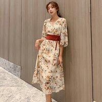 Летнее платье для женщин 2021 Япония Стиль Сексуальный V-образным вырезом Печать Maxi Платья Элегантное Урожай Слим Длинное Платье Aiyanga