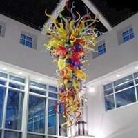 Blown Glass Chandelier Multicolor Ceiling Lamps Handmade Crafts Hanging Lights Large Flower Pendant for Bedroom Hotel Lobby Decor 24 By 54 Inches