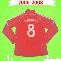 S-2xl de manga larga 2006 2007 2008 Jersey de fútbol Retro 06 07 08 Classic Red Home Vintage Camisa de fútbol uniforme completo Maillot de pie # 8 Gerrard