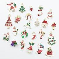 23pcs 또는 19pcs 크리스마스 시리즈 합금 에나멜 매력 펜던트 수제 머리 보우 북마크 귀걸이 DIY 소재 여성을위한