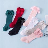 Meias de bebé meias grandes arco piso meias algodão crianças meias estudante princesa cor-de-rosa calçado knee alto bebê meia-calça 7 cores bt5332