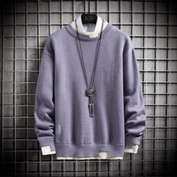 Men's Sweaters Winter Casual Sweater Cashmere Men Fake Two-piece Solid Color Round Neck Fashion Harajuku Style