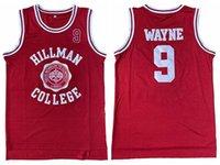 Expédier de l'US Mens Mens Wayne 9 Hillman College Theatre Movie Basketball Jersey Tous cousus Rouge White Taille S-2XL Top Qualité supérieure