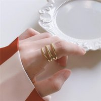 Cluster Rings DAIWUJAN Korean 925 Sterling Silver Three Layers Line Open Simple Gold Glossy Round Adjustable Ring For Women Girl Jewelry