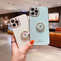 Soft Necklace Diamond Side 360 Ring Phone Cases with Lucky grass water drill support stand for iPhone 12 11 Pro Max