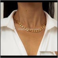 Necklaces & Pendants Jewelrylacteo Exaggerated Iron Metal Chain Choker Necklace For Women Trendy Simple Single Jewelry Aessories Gifts Chains