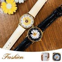 Fashion Small Daisies Women Watches Leather Band Watch Women's Dress Quartz Wristwatch Zegarek Damski Gift Wristwatches