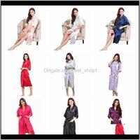 Sleep Lounge 9Colors Women Silk Solid Robe Bridal Wedding Bridesmaid Bride Gown Kimono Long Pajamas Summer Night Lady Sleepwear Ljja25 Koumd