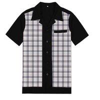 남성 캐주얼 셔츠 브랜드 패치 워크 격자 무늬 블라우스 짧은 소매 버튼 아래로 Camiseta 복고풍 hombre 볼링 드레스 남성