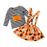 Halloween Infant Clothing Sets Girls Outfits Baby Clothes Autumn Winter Cotton Long Sleeve Striped T-shirts Headband Skirts 3Pcs B7608