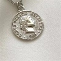 Yeni Yaratıcı Kişilik Kraliçe Avatar 925 Ayar Gümüş Takı Dollor Sikke Yuvarlak Güzel Kolye Kolye 770 Z2