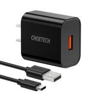 CHOETECH 18W USB C Carregador de Parede Rápido Carga 3.0 Adaptador Com Cabo -Black